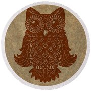 Colored Owl 2 Of 4  Round Beach Towel