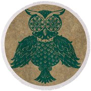 Colored Owl 4 Of 4  Round Beach Towel