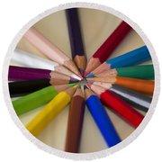 Colored Pencils Round Beach Towel