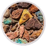 Colored Stone Rock Church Wall - Cedar City - Utah Round Beach Towel