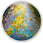 Colored Stones And Lichen Covered Bridge Round Beach Towel