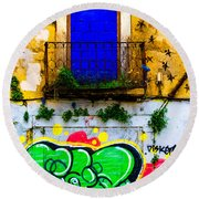 Colored Wall Round Beach Towel