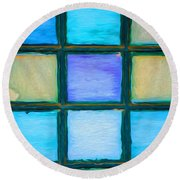 Colored Window Panes Round Beach Towel