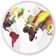 Colored World Map Round Beach Towel