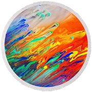 Colorful Abstract Acrylic Painting Round Beach Towel