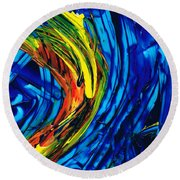Colorful Abstract Art - Energy Flow 2 - By Sharon Cummings Round Beach Towel