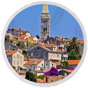 Colorful Adriatic Town Of Losinj Round Beach Towel