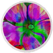 Colorful African Violet Round Beach Towel