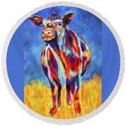 Colorful Angus Cow Round Beach Towel