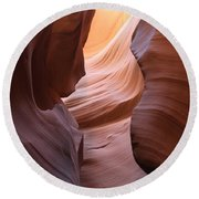 Colorful Antelope Canyon Waves Round Beach Towel