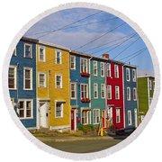 Colorful Apartment Buildings In Saint John's-nl Round Beach Towel