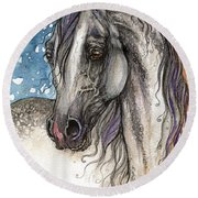 Colorful Arabian Horse  Round Beach Towel