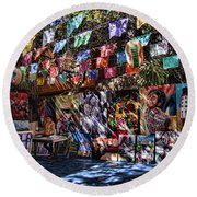 Colorful Art Store In Mexico Round Beach Towel