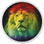 Colorful Artistic Portrait Of A Lion On Black Background  Round Beach Towel