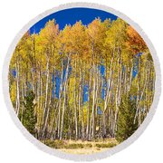 Colorful Aspen Panorama Round Beach Towel