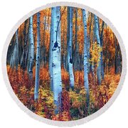 Colorful Aspens Round Beach Towel