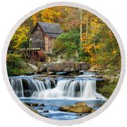 Colorful Autumn Grist Mill Round Beach Towel