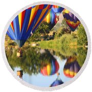 Colorful Balloons Fill The Frame Round Beach Towel