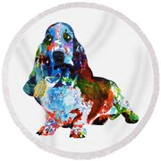 Colorful Basset Round Beach Towel