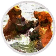 Colorful Bears Round Beach Towel