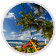 Colorful Bench On Caribbean Coast Round Beach Towel