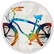 Colorful Bike Art - Free Spirit - By Sharon Cummings Round Beach Towel