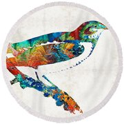 Colorful Bird Art - Sweet Song - By Sharon Cummings Round Beach Towel