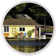 Colorful Boathouse Round Beach Towel