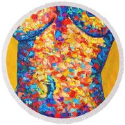 Colorful Bodyscape 1 Round Beach Towel