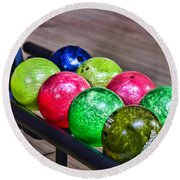 Colorful Bowling Balls Round Beach Towel