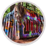Colorful Box Car In The Forest Round Beach Towel