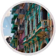 Colorful Buildings In Havana Round Beach Towel