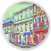Colorful Buildings Round Beach Towel