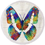 Colorful Butterfly Art By Sharon Cummings Round Beach Towel