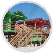 Colorful Cabanas Round Beach Towel