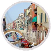 Colorful Canal Round Beach Towel
