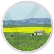 Colorful Canola Field Round Beach Towel