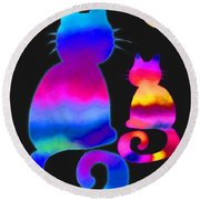 Colorful Cats And The Moon Round Beach Towel