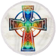 Colorful Celtic Cross By Sharon Cummings Round Beach Towel