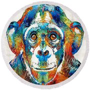Colorful Chimp Art - Monkey Business - By Sharon Cummings Round Beach Towel
