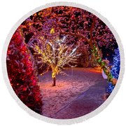 Colorful Christmas Lights On Trees Round Beach Towel