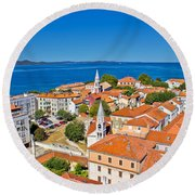 Colorful City Of Zadar Rooftops  Towers Round Beach Towel