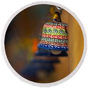 Colorful Clay Bells Round Beach Towel