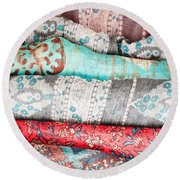 Colorful Cloths Round Beach Towel