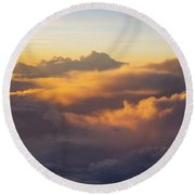 Colorful Clouds Round Beach Towel