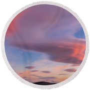 Colorful Clouds Over Wicklow Mountains Round Beach Towel by Semmick Photo