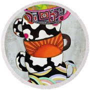 Colorful Coffee Cups Mugs Hot Cuppa Stacked I By Romi And Megan Round Beach Towel by Megan Duncanson