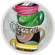 Colorful Coffee Cups Mugs Hot Cuppa Stacked II By Romi And Megan Round Beach Towel