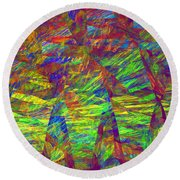 Colorful Computer Generated Abstract Fractal Flame Round Beach Towel