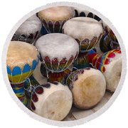 Colorful Congas Round Beach Towel
